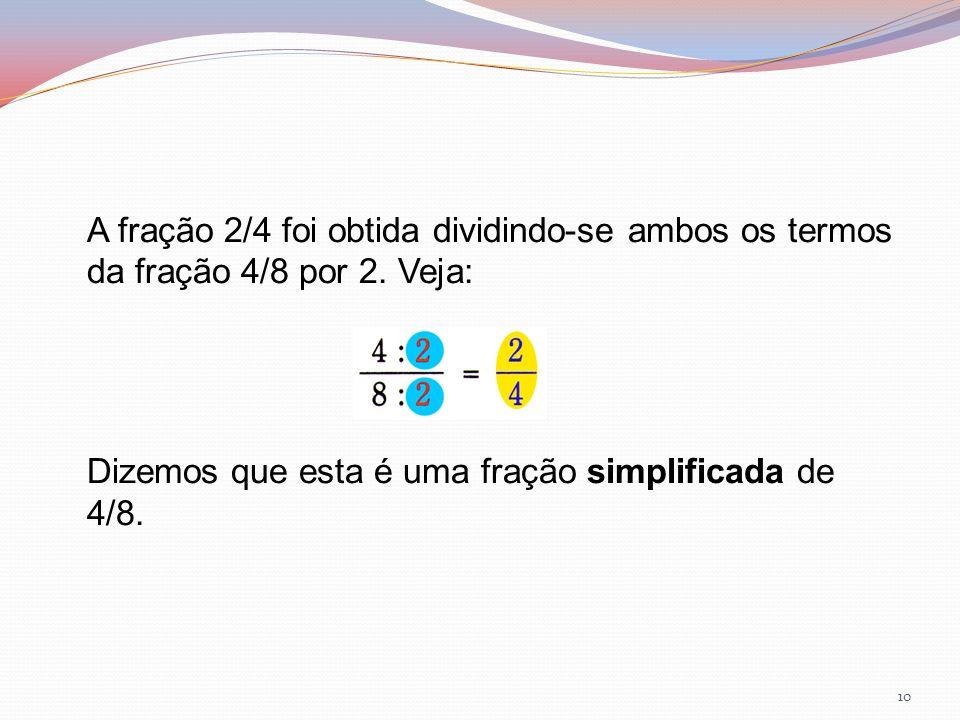A fração 2/4 foi obtida dividindo-se ambos os termos da fração 4/8 por 2.