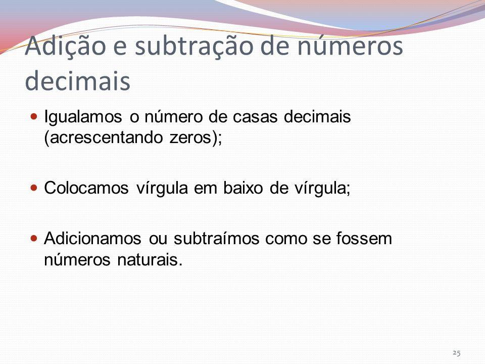 Adição e subtração de números decimais