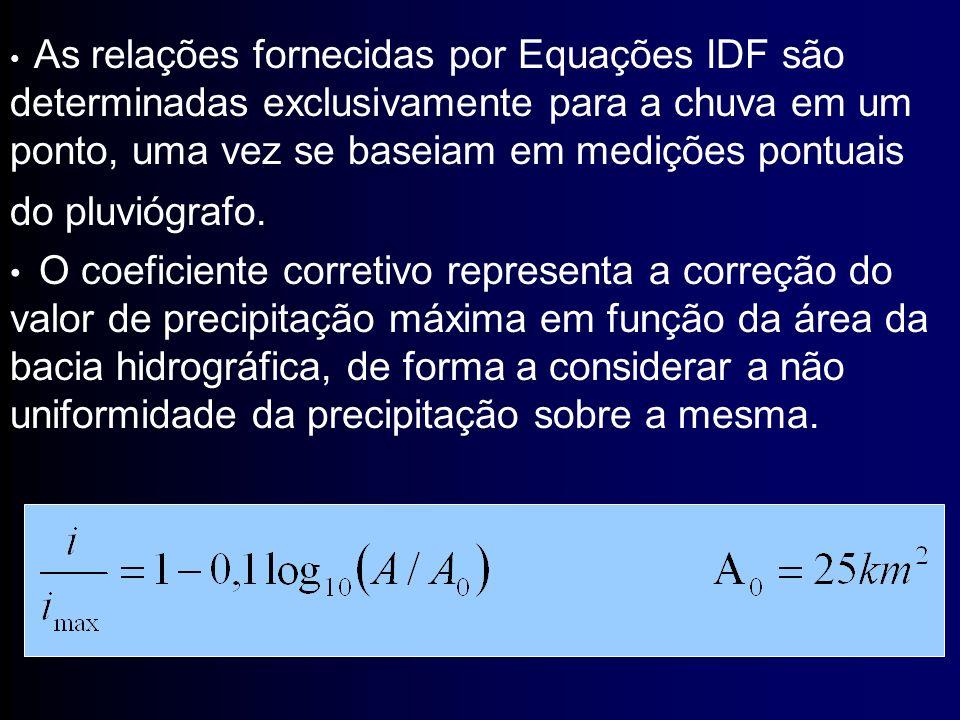 As relações fornecidas por Equações IDF são determinadas exclusivamente para a chuva em um ponto, uma vez se baseiam em medições pontuais do pluviógrafo.