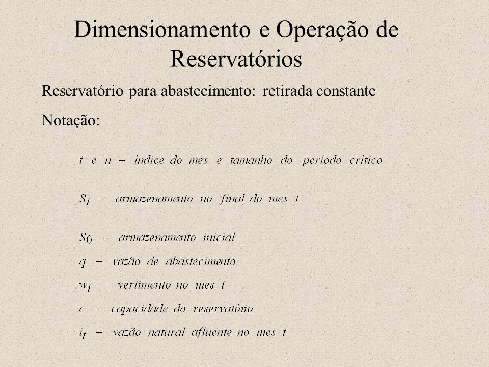 Dimensionamento e Operação de Reservatórios