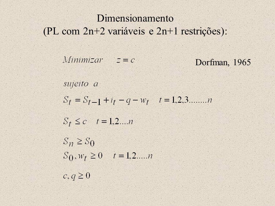 Dimensionamento (PL com 2n+2 variáveis e 2n+1 restrições):