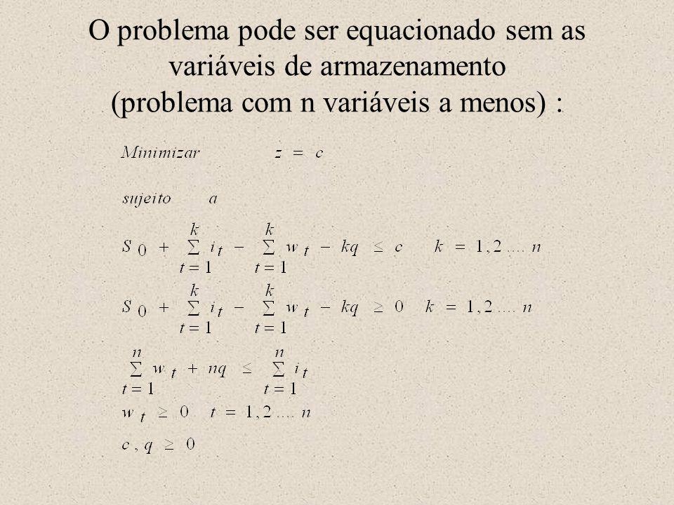 O problema pode ser equacionado sem as variáveis de armazenamento (problema com n variáveis a menos) :