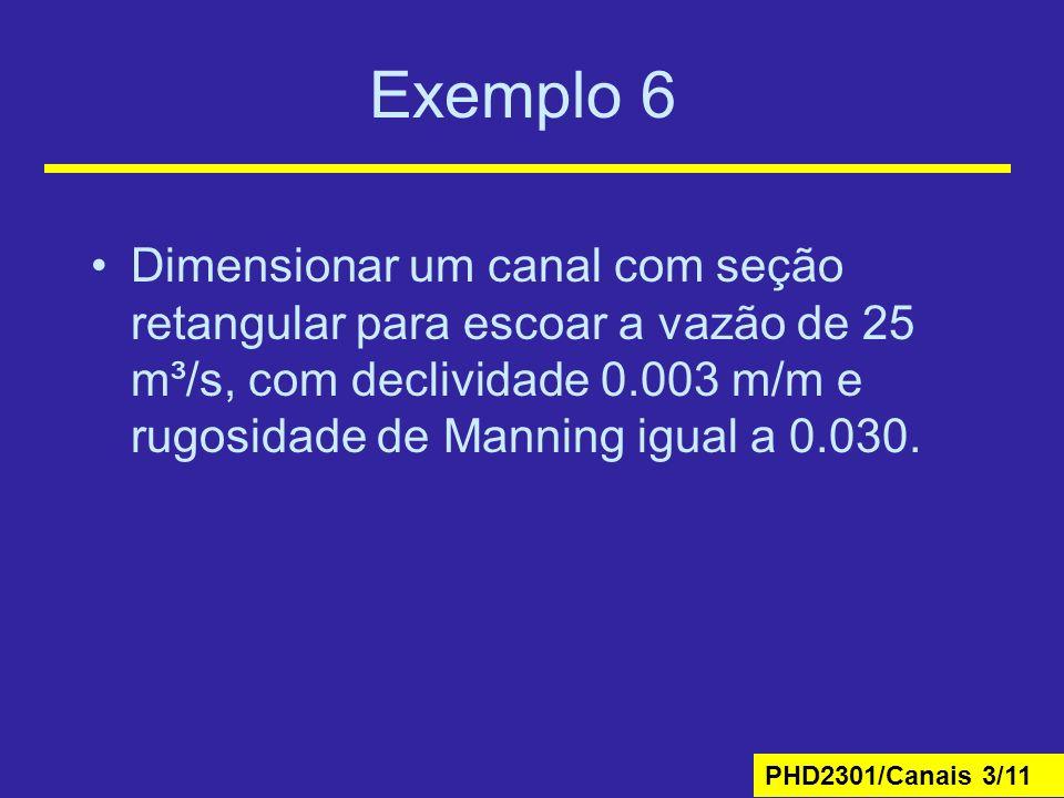 Exemplo 6 Dimensionar um canal com seção retangular para escoar a vazão de 25 m³/s, com declividade 0.003 m/m e rugosidade de Manning igual a 0.030.