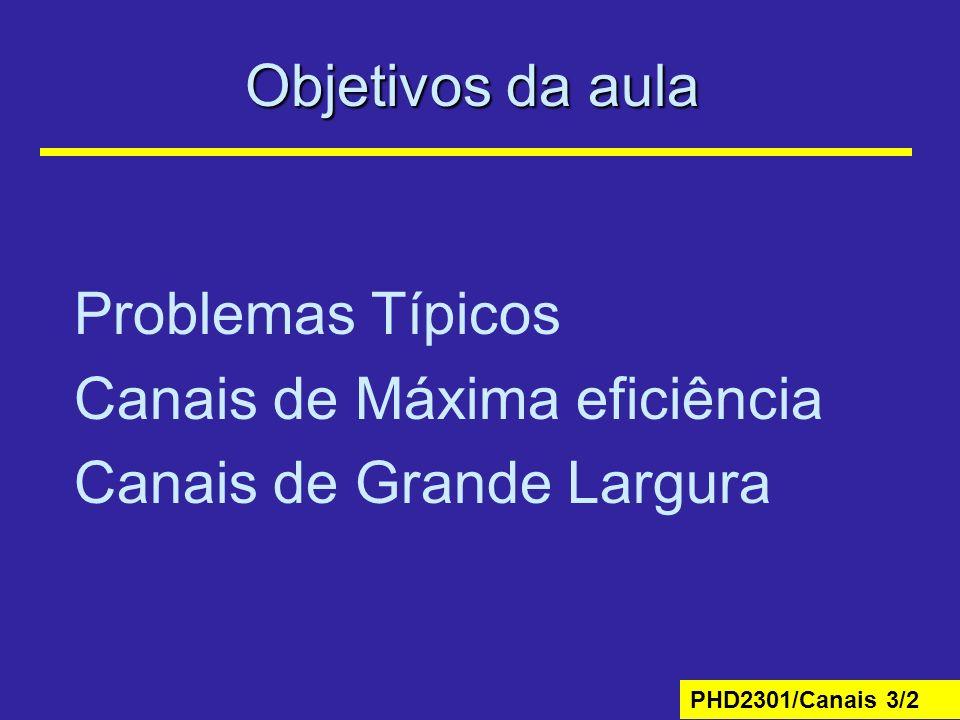 Objetivos da aula Problemas Típicos Canais de Máxima eficiência Canais de Grande Largura