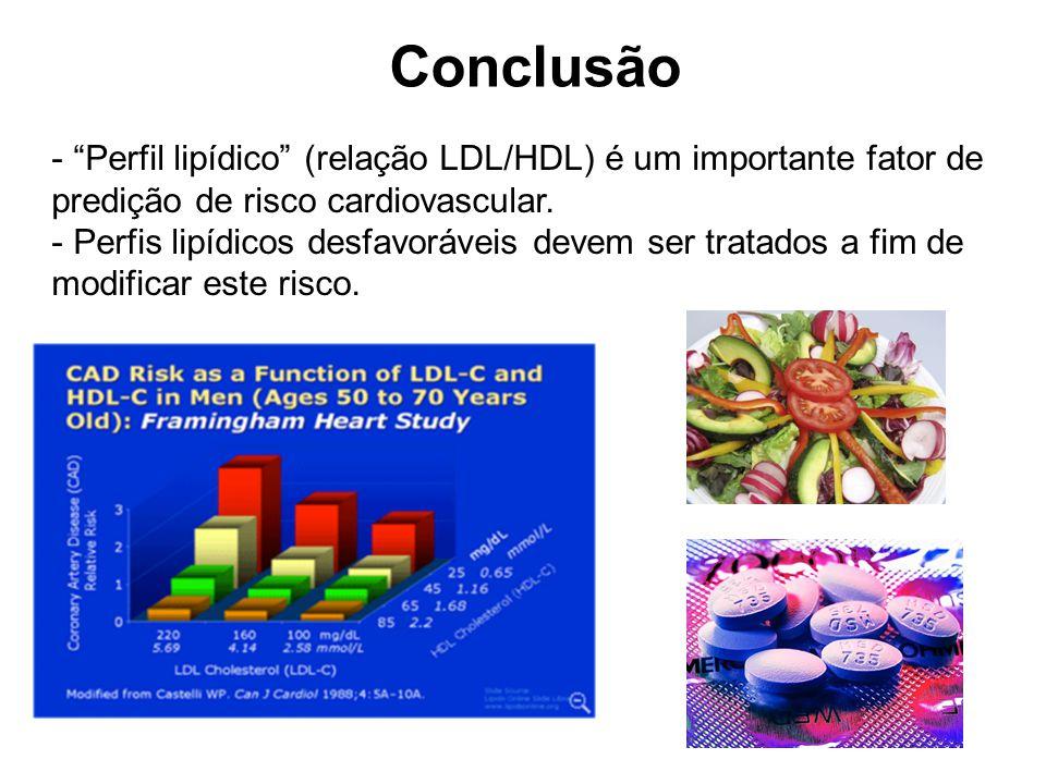 Conclusão Perfil lipídico (relação LDL/HDL) é um importante fator de predição de risco cardiovascular.