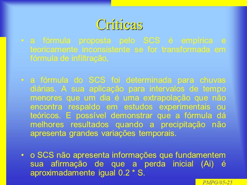 Críticasa fórmula proposta pelo SCS é empírica e teoricamente inconsistente se for transformada em fórmula de infiltração,