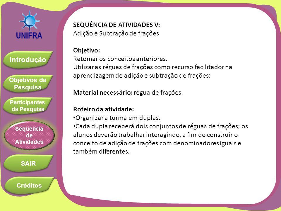 SEQUÊNCIA DE ATIVIDADES V: