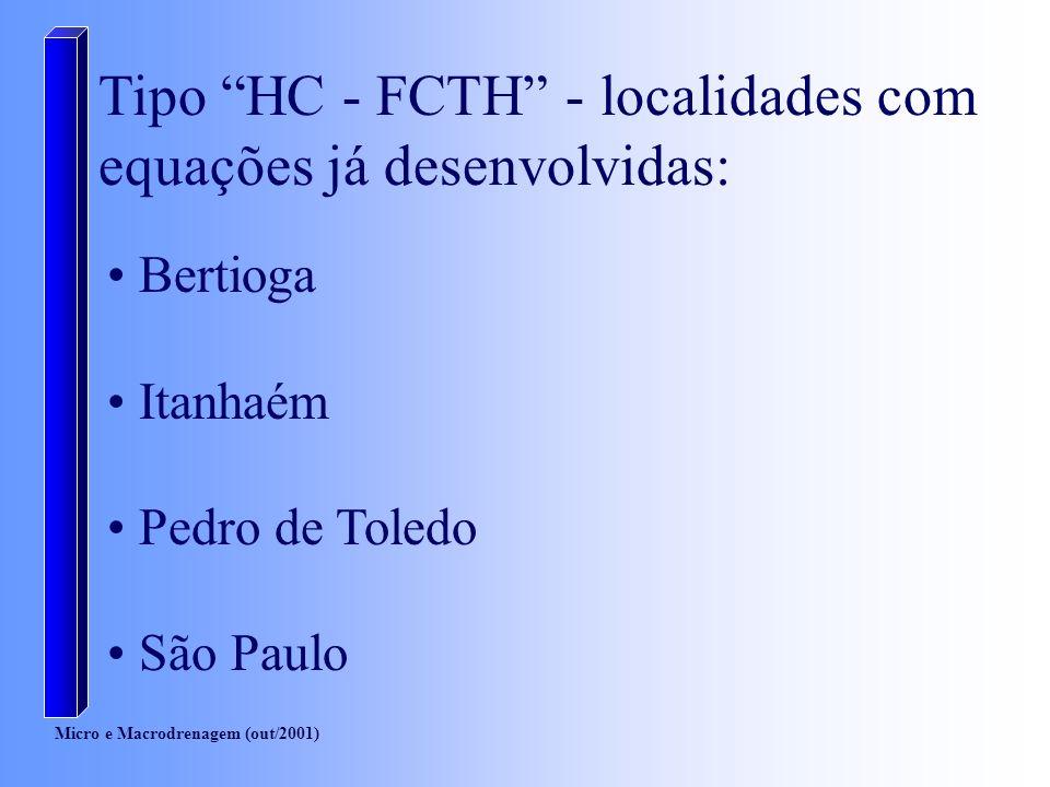 Tipo HC - FCTH - localidades com equações já desenvolvidas: