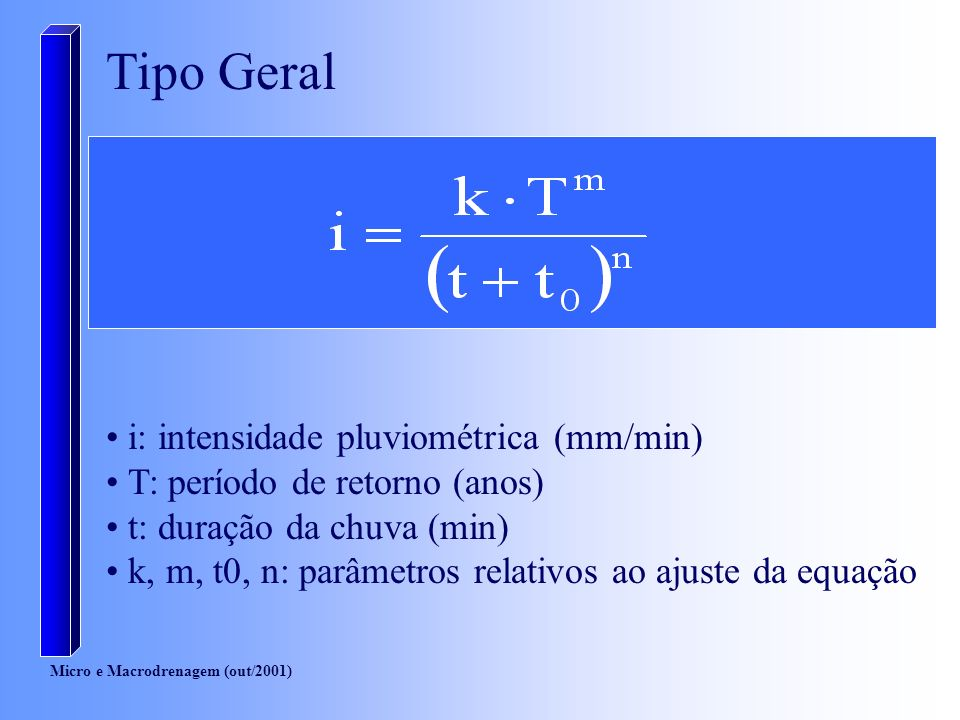 Tipo Geral i: intensidade pluviométrica (mm/min)