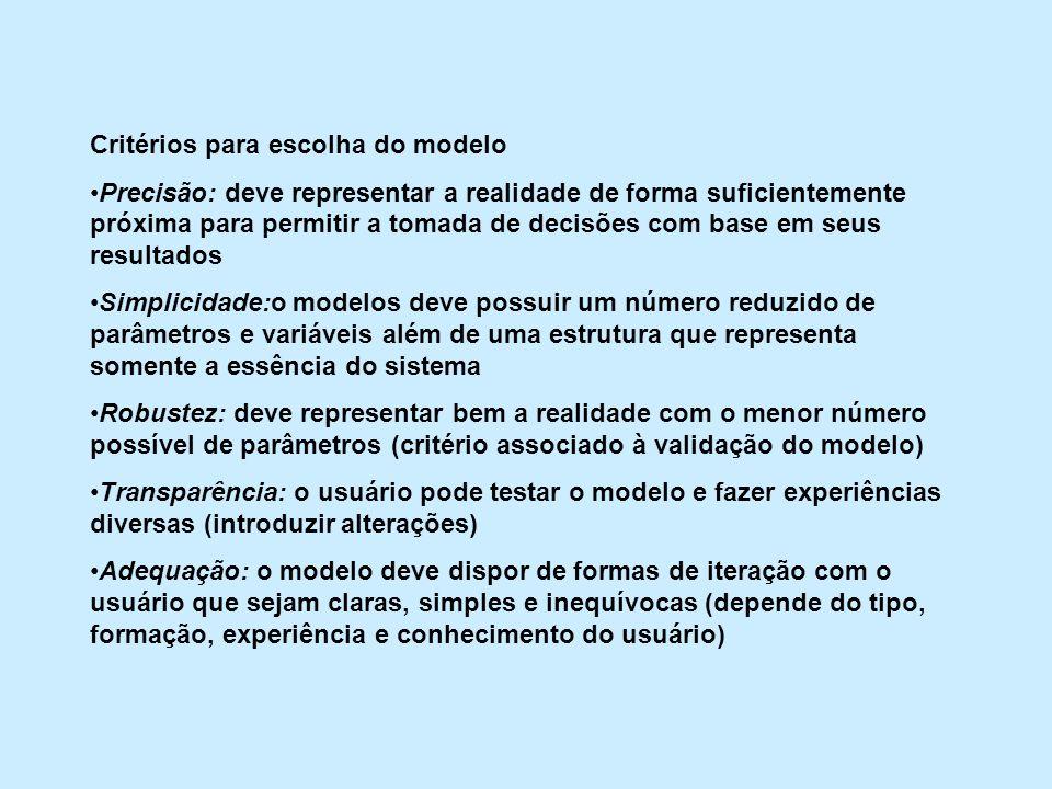 Critérios para escolha do modelo