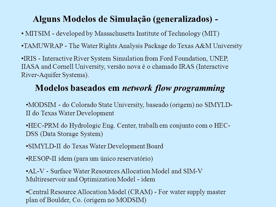 Alguns Modelos de Simulação (generalizados) -