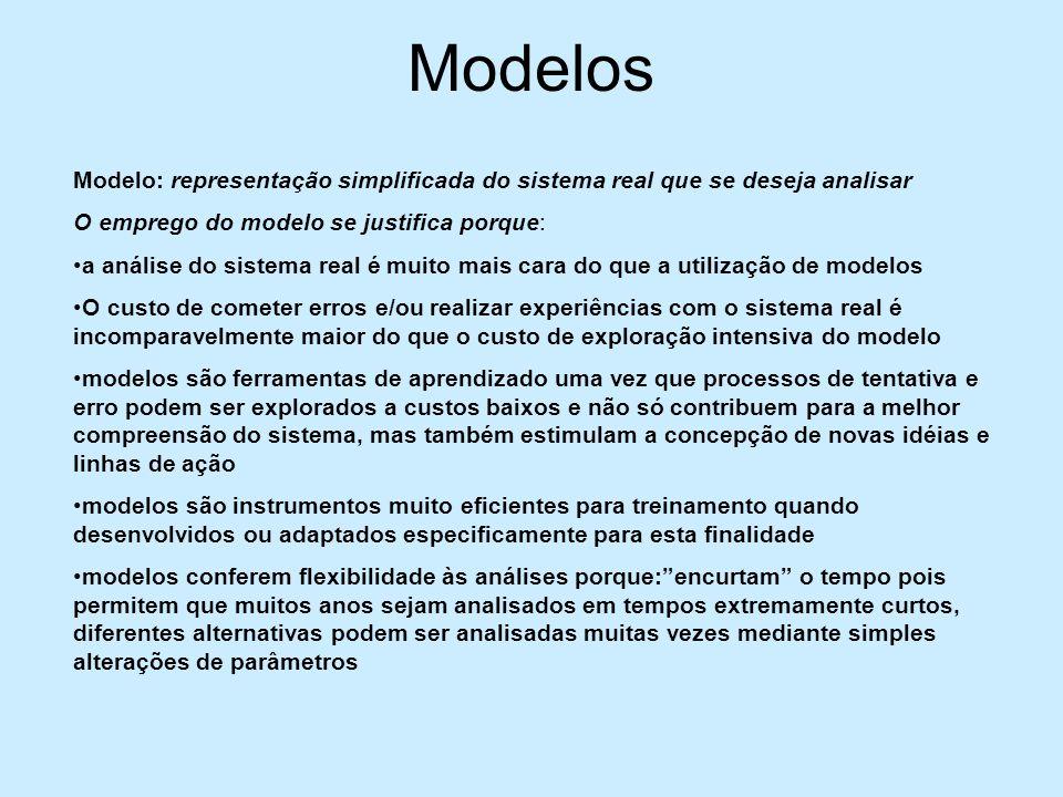 Modelos Modelo: representação simplificada do sistema real que se deseja analisar. O emprego do modelo se justifica porque: