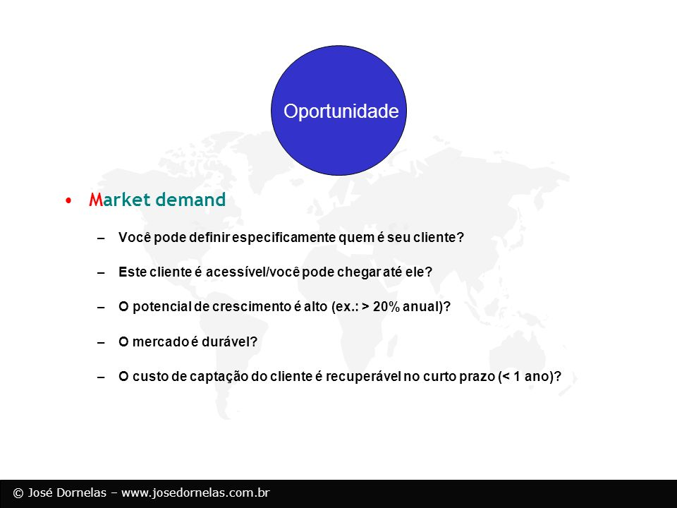 Oportunidade Market demand