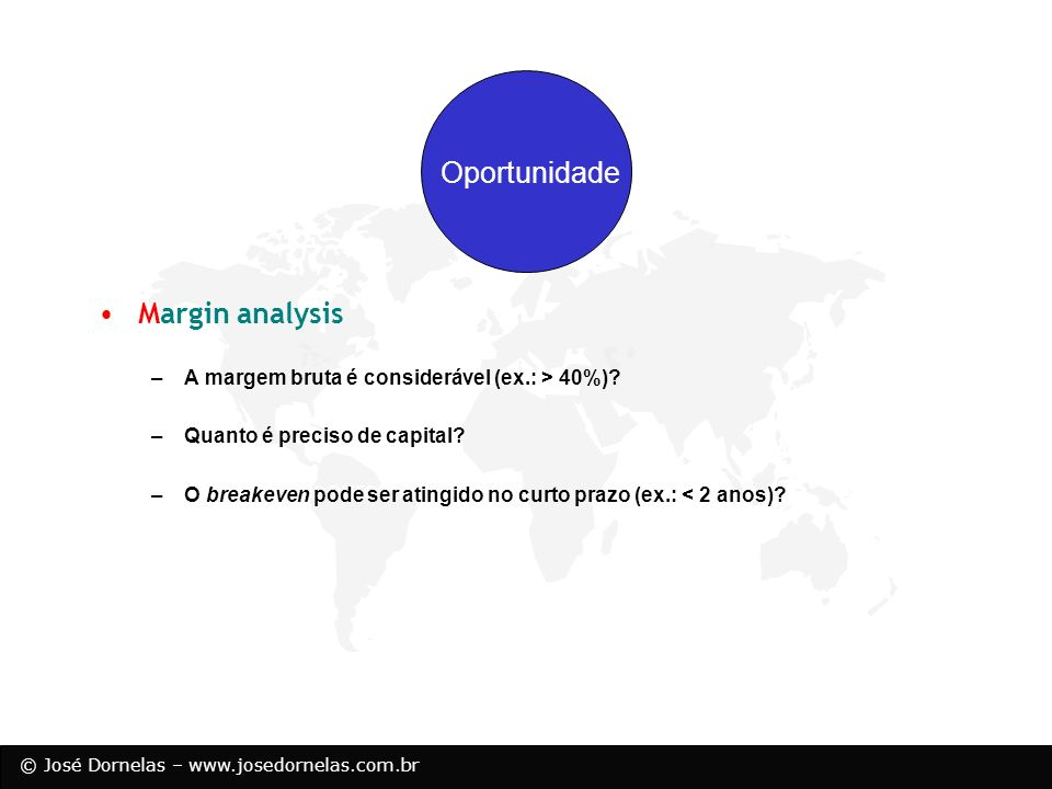 Oportunidade Margin analysis Resources Opportunity
