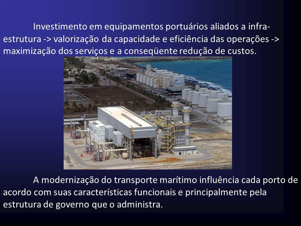 Investimento em equipamentos portuários aliados a infra-estrutura -> valorização da capacidade e eficiência das operações -> maximização dos serviços e a conseqüente redução de custos.