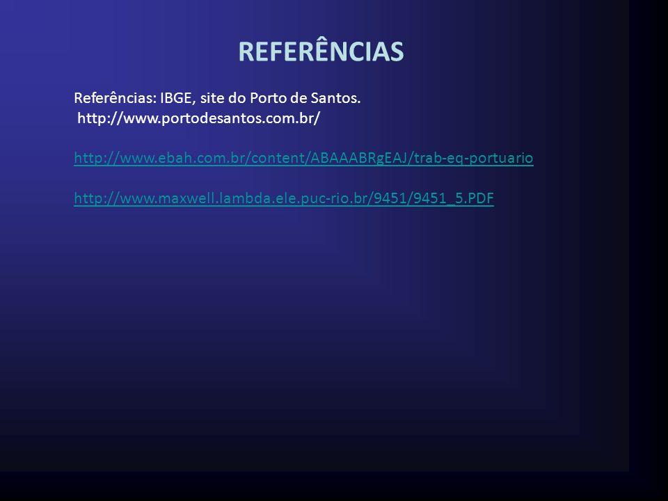 REFERÊNCIAS Referências: IBGE, site do Porto de Santos.