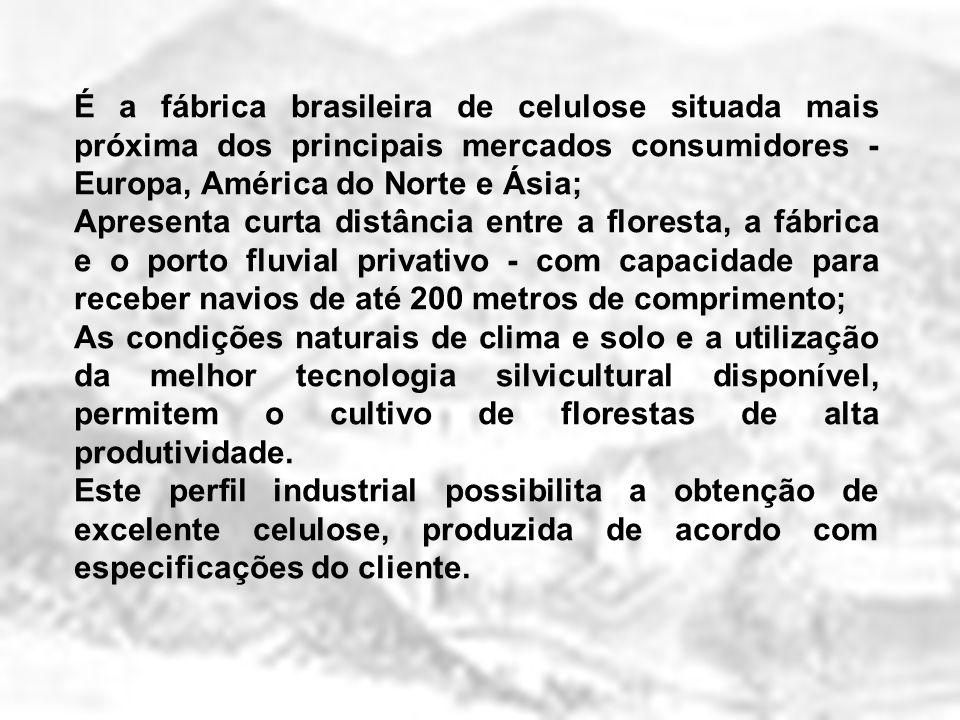 É a fábrica brasileira de celulose situada mais próxima dos principais mercados consumidores - Europa, América do Norte e Ásia;