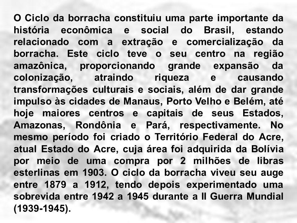O Ciclo da borracha constituiu uma parte importante da história econômica e social do Brasil, estando relacionado com a extração e comercialização da borracha.