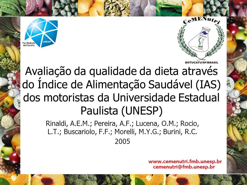 Avaliação da qualidade da dieta através do Índice de Alimentação Saudável (IAS) dos motoristas da Universidade Estadual Paulista (UNESP)