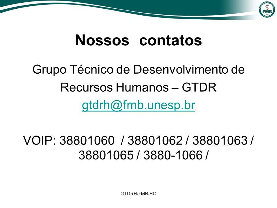 Nossos contatos Grupo Técnico de Desenvolvimento de