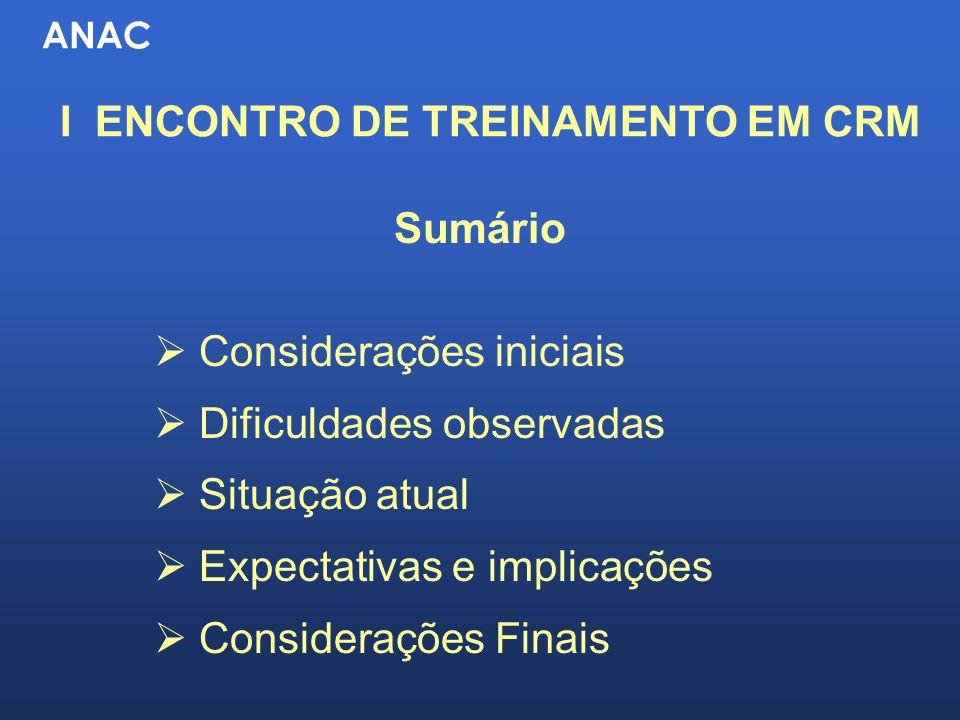 ANAC I ENCONTRO DE TREINAMENTO EM CRM