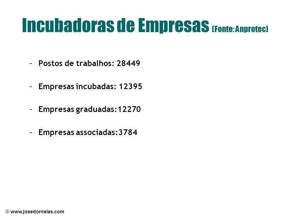 Incubadoras de Empresas (Fonte: Anprotec)