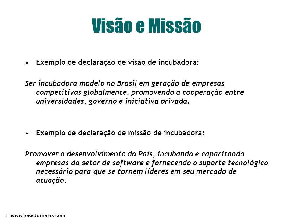 Visão e Missão Exemplo de declaração de visão de incubadora: