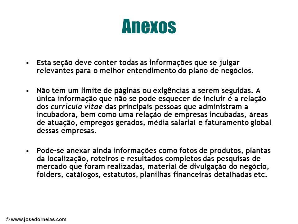Anexos Esta seção deve conter todas as informações que se julgar relevantes para o melhor entendimento do plano de negócios.