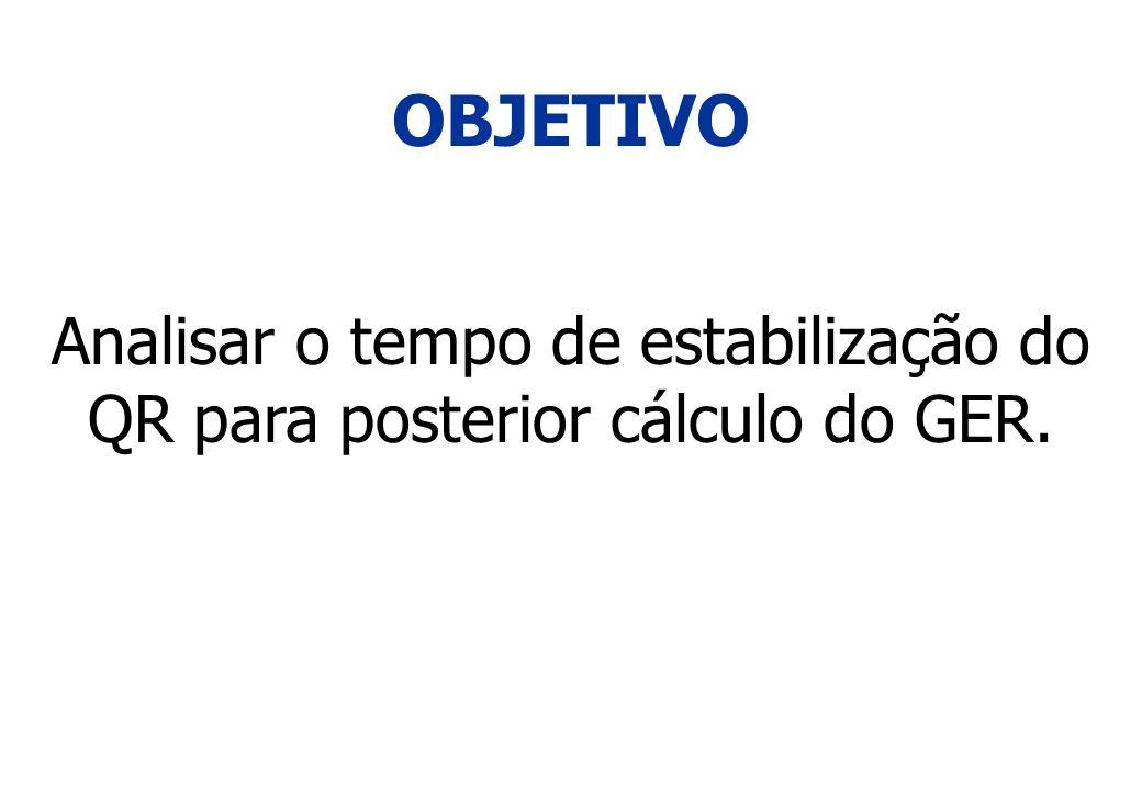 Analisar o tempo de estabilização do QR para posterior cálculo do GER.