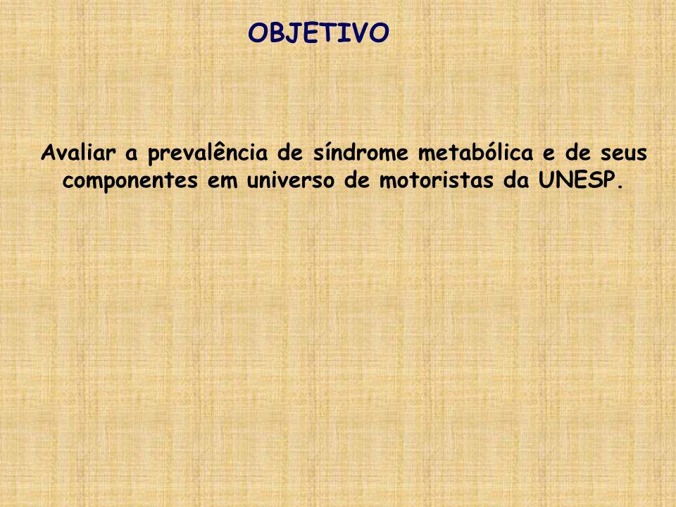OBJETIVOAvaliar a prevalência de síndrome metabólica e de seus componentes em universo de motoristas da UNESP.