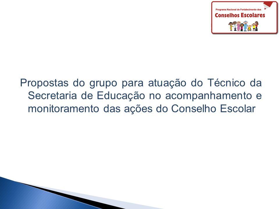 Propostas do grupo para atuação do Técnico da Secretaria de Educação no acompanhamento e monitoramento das ações do Conselho Escolar