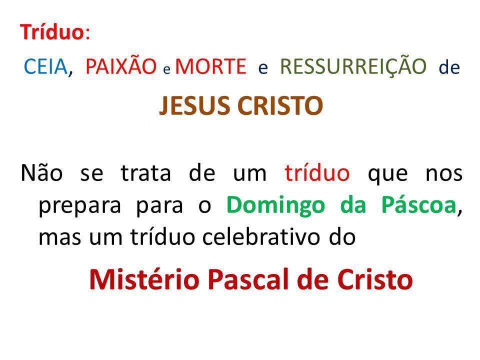 Tríduo: CEIA, PAIXÃO e MORTE e RESSURREIÇÃO de. JESUS CRISTO.