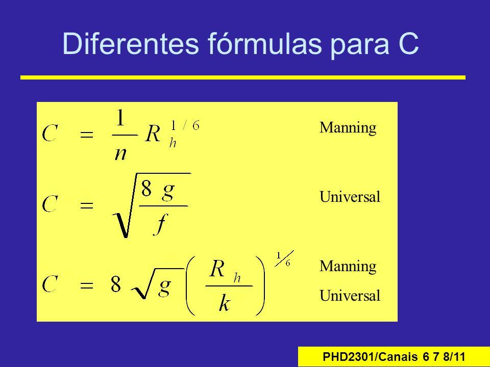 Diferentes fórmulas para C