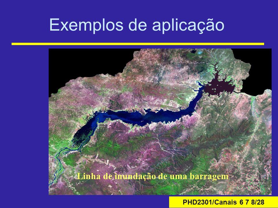 Exemplos de aplicação Linha de inundação de uma barragem