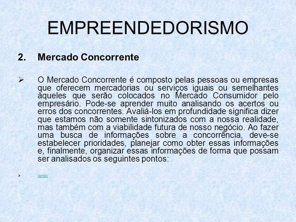 EMPREENDEDORISMO 2. Mercado Concorrente