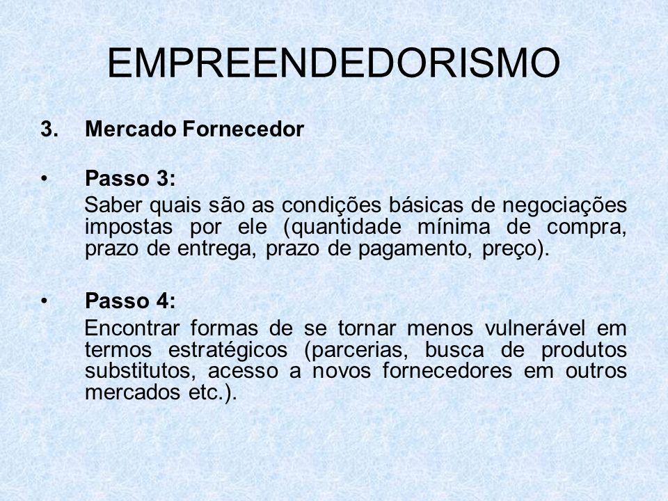 EMPREENDEDORISMO Mercado Fornecedor Passo 3: