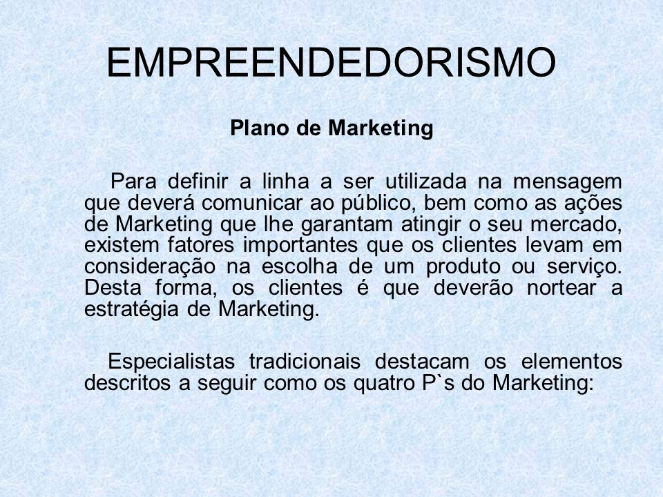 EMPREENDEDORISMO Plano de Marketing