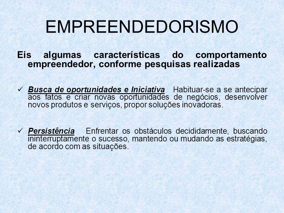 EMPREENDEDORISMO Eis algumas características do comportamento empreendedor, conforme pesquisas realizadas.