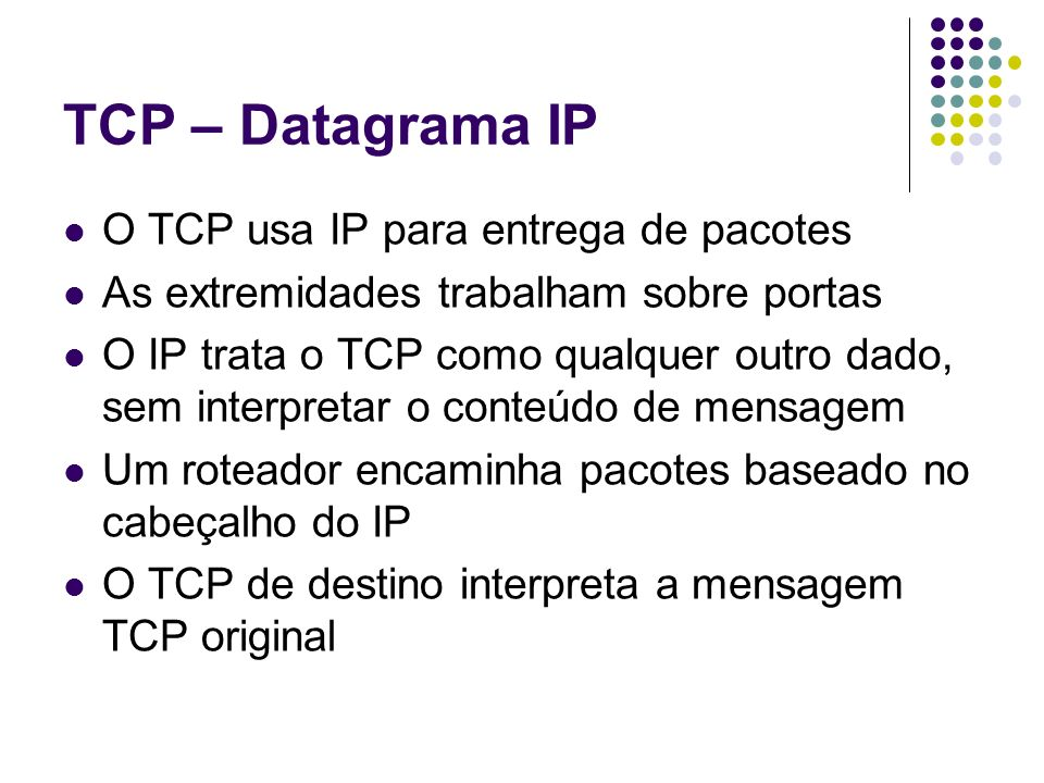 TCP – Datagrama IP O TCP usa IP para entrega de pacotes