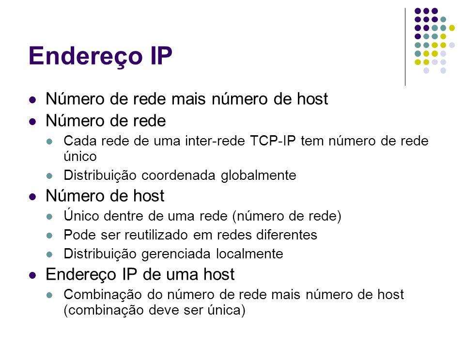 Endereço IP Número de rede mais número de host Número de rede