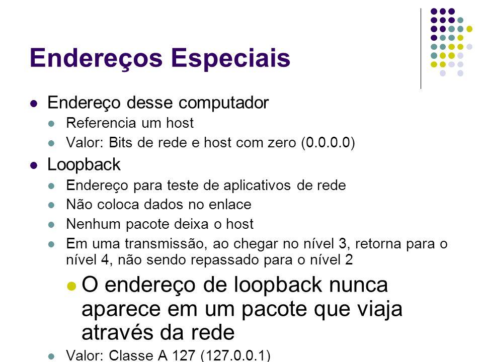 Endereços Especiais Endereço desse computador. Referencia um host. Valor: Bits de rede e host com zero (0.0.0.0)