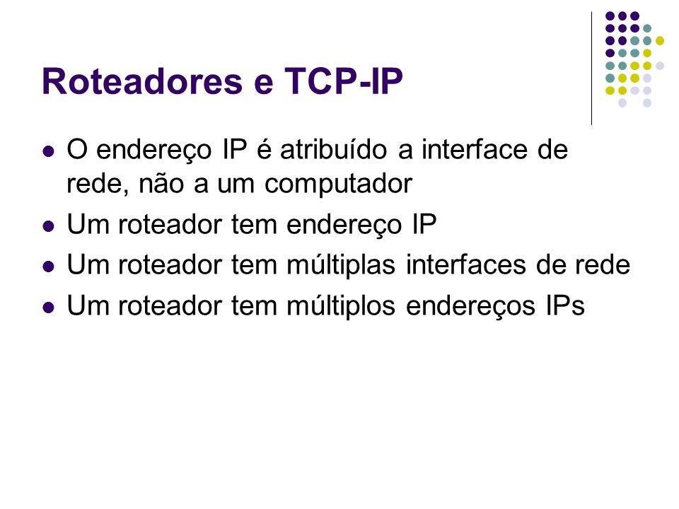 Roteadores e TCP-IP O endereço IP é atribuído a interface de rede, não a um computador. Um roteador tem endereço IP.