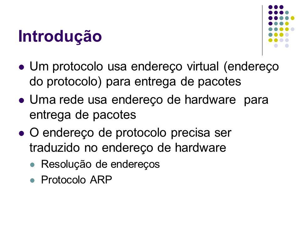 Introdução Um protocolo usa endereço virtual (endereço do protocolo) para entrega de pacotes.