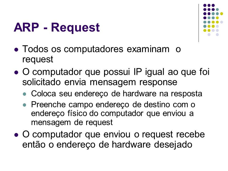 ARP - Request Todos os computadores examinam o request