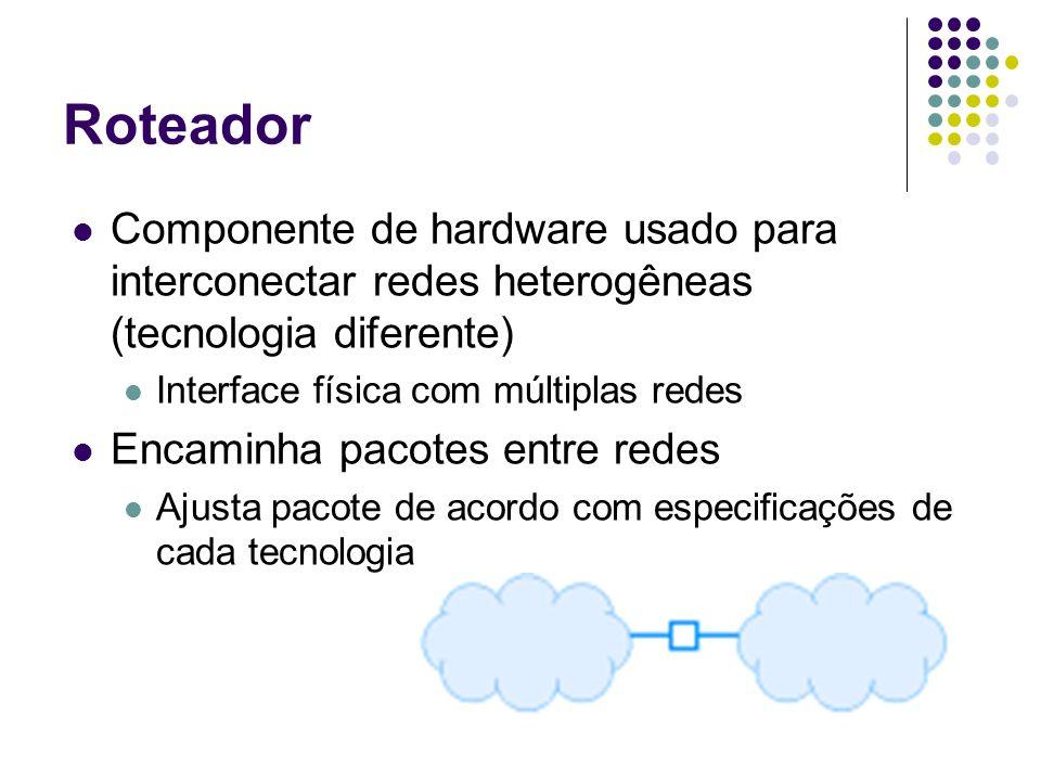 Roteador Componente de hardware usado para interconectar redes heterogêneas (tecnologia diferente) Interface física com múltiplas redes.