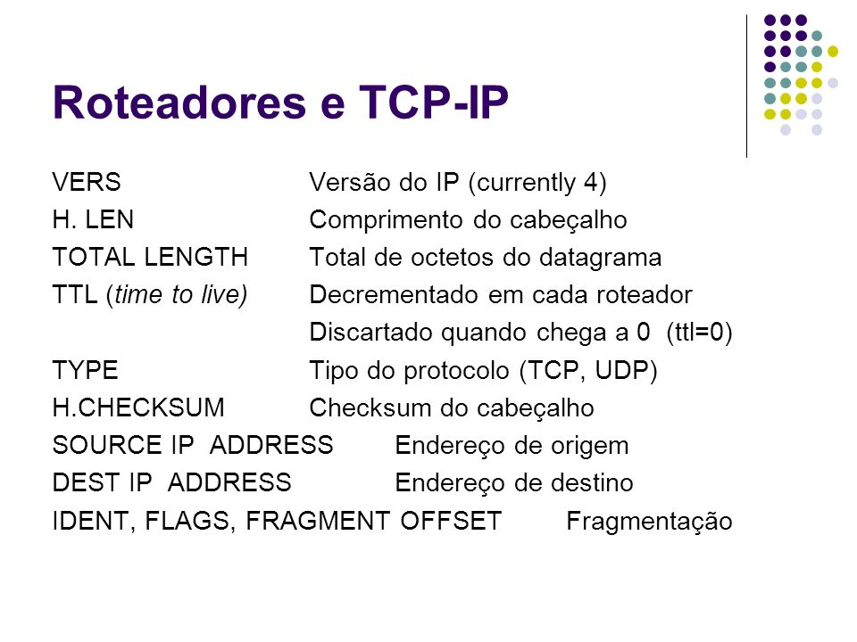 Roteadores e TCP-IP VERS Versão do IP (currently 4)