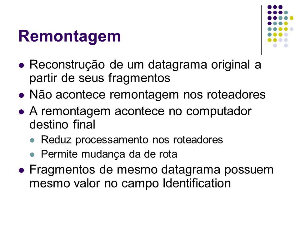 Remontagem Reconstrução de um datagrama original a partir de seus fragmentos. Não acontece remontagem nos roteadores.