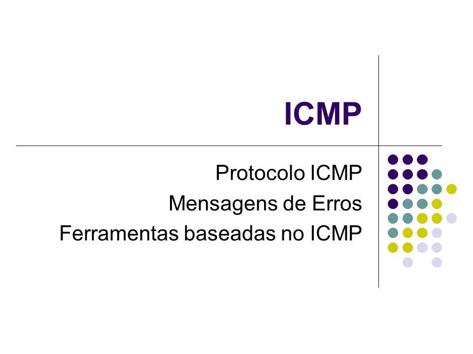 Protocolo ICMP Mensagens de Erros Ferramentas baseadas no ICMP
