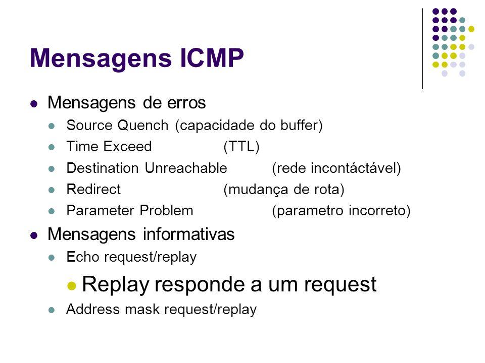 Mensagens ICMP Replay responde a um request Mensagens de erros