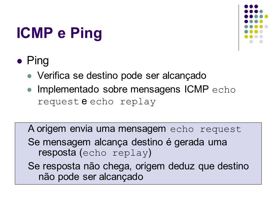 ICMP e Ping Ping Verifica se destino pode ser alcançado